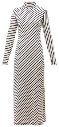 Loewe Diagonal-striped High-neck Jersey Midi Dress - Navy White