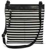 Merona Women's Striped Crossbody Faux Leather Handbag with Zippers Black/White
