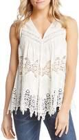 Karen Kane Sleeveless Embroidered Lace-Inset Top