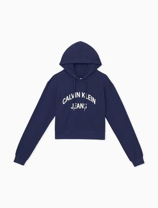 Calvin Klein Cotton Terry Logo Cropped Hoodie