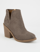 SODA Perforated Side Slit Womens Booties
