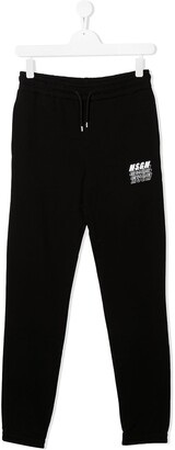 Msgm Kids TEEN logo cotton track pants