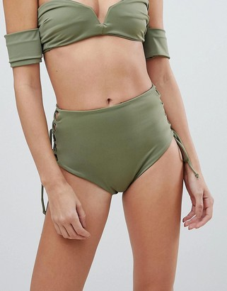 Skye And Staghorn Skye & Staghorn High Waisted Stripe Lace Up Bikini Bottom