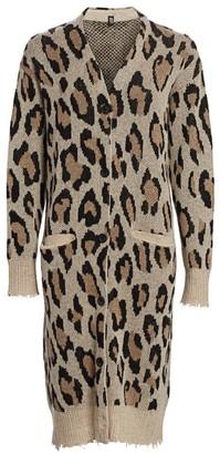 R 13 Long Leopard Cashmere Cardigan