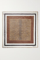 Thumbnail for your product : Valentino Garavani Fringed Leopard-print Cashmere And Silk-blend Scarf - Brown