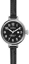 Shinola The Birdy 34mm Leather Strap Watch, Black