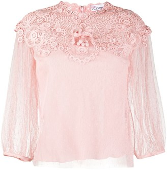 RED Valentino Lace Overlay Blouse