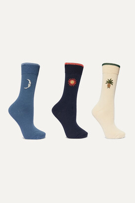 Desmond & Dempsey Mexico Set Of Three Embroidered Cotton-blend Socks - White