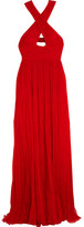 Roberto Cavalli Cutout Pleated Silk-chiffon Gown - Red