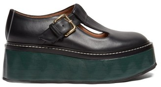 Marni Dolly Leather Flatform Loafers - Womens - Black Green