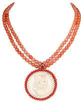 One Kings Lane Vintage Faux-Coral Cameo Pendant Necklace