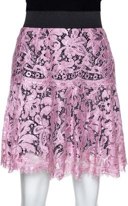 Dolce & Gabbana Black & Pink Corded Lace Mini Skirt M