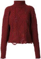 Miharayasuhiro distressed cable knit jumper