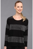 Vince Camuto TWO by Bold Lurex Raglan Tee (Rich Black) - Apparel