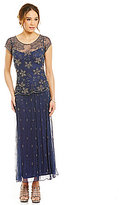 Pisarro Nights Petite Beaded-Bodice Popover Gown