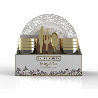"Laura Ashley 56 Pc Lace Party Set for 8 | 10.25"" Dinner 7.5"" Appetizer Plates 