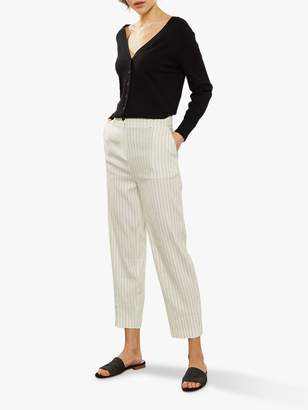Mint Velvet Striped Wide Leg Trousers, Natural/Charcoal