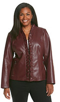 Gallery Plus Size Faux Leather Scuba Jacket With Ruffle Front