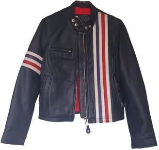 Schott Navy Leather Jacket for Women