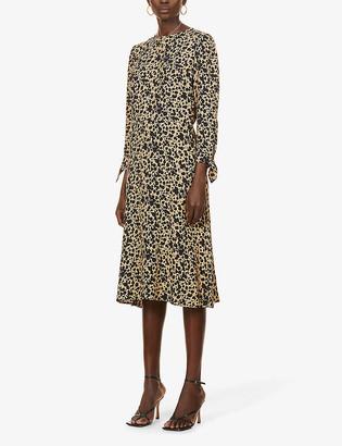 Reformation Port spot-print woven midi dress