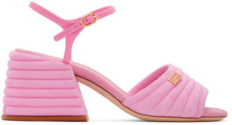 Fendi Pink Suede Slingback Heels