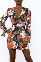 Olivaceous Floral Wrap Dress