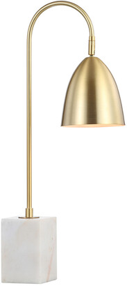Jonathan Y Designs Ana 26In Gold Arched Metal With Marble Base Led Table Lamp