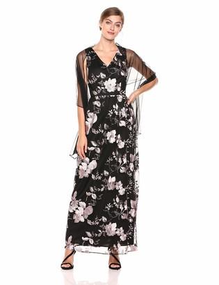Alex Evenings Women's Long Cap Sleeve V-Neck Dress Embellished Waist Detail