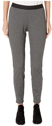 Eileen Fisher Recycled Polyester Herringbone Leggings (Charcoal) Women's Casual Pants