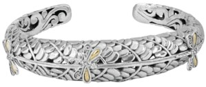 Devata Sweet Dragonfly Green Earth Cuff Bracelet in Sterling Silver and 18k Yellow Gold Accents