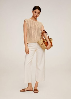 MANGO Crochet top sand - S - Women