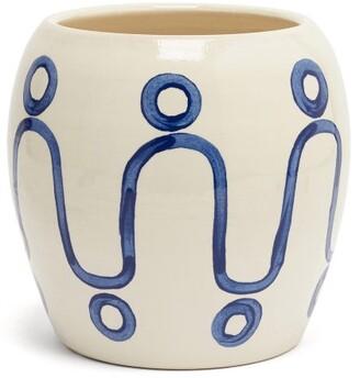 Themis Z - Cycladic Ceramic Pottery Vase - Blue White