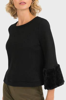 Joseph Ribkoff Faux Fur Cuff Sleeve Sweater