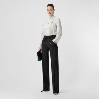 Burberry Pocket Detail Wool Mohair Tailored Trousers