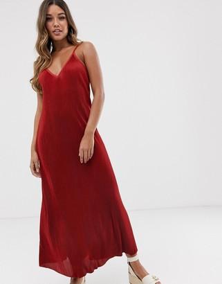 Asos Design DESIGN plisse plunge cami maxi dress