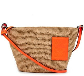 Loewe Paula's Ibiza - Anagram-patch Woven-raffia Cross-body Bag - Beige Multi