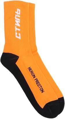 Heron Preston Ctnmb Long Socks In Orange Cotton
