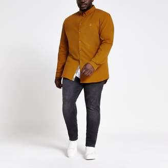 River Island Mens Big and Tall Yellow slim fit Oxford shirt