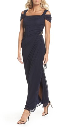 Alex Evenings Embellished Cold Shoulder Column Gown