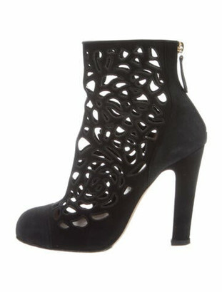 Valentino Suede Cutout Accent Boots Black