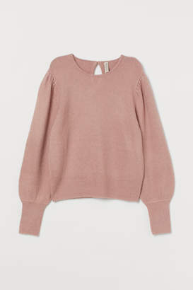 H&M Puff-sleeved Sweater - Pink