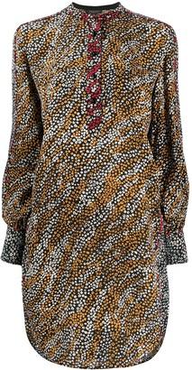 Rag & Bone Button Collar Floral Print Silk Dress