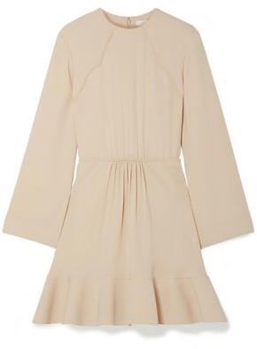 Chloé Fluted Gathered Crepe Mini Dress
