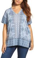 Lucky Brand Plus Size Women's Baroque Mosaic V-Neck Tee