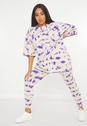 Missguided Plus Size Purple Tie Dye Leggings