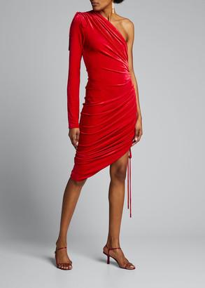 Monse One-Sleeve Velvet Drawstring Dress