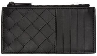 Bottega Veneta Black Intrecciato Zipper Card Holder