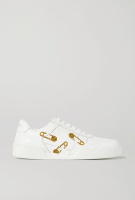 Versace Embroidered Leather Sneakers - White