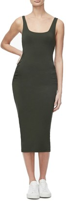 Good American Square Neck Ruched Bodycon Midi Dress (Regular & Plus Size)