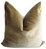 Fragments for Neiman Marcus Identity Olive Silk Velvet & White Linen Pillow